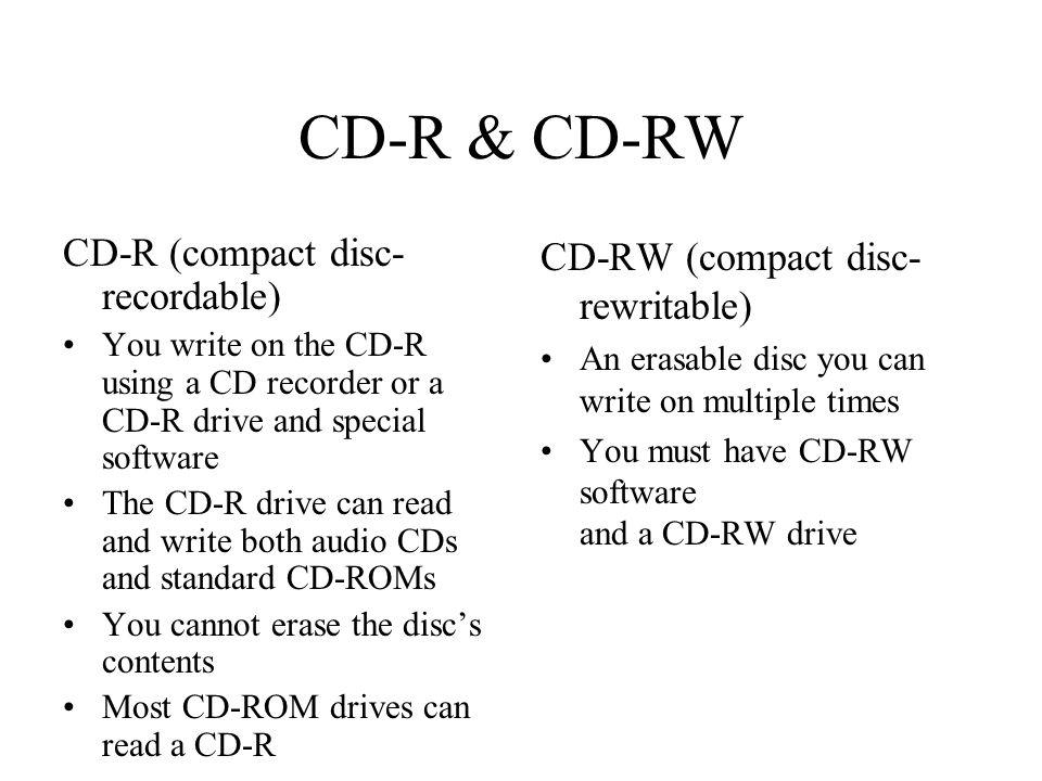 CD-R & CD-RW CD-R (compact disc-recordable)