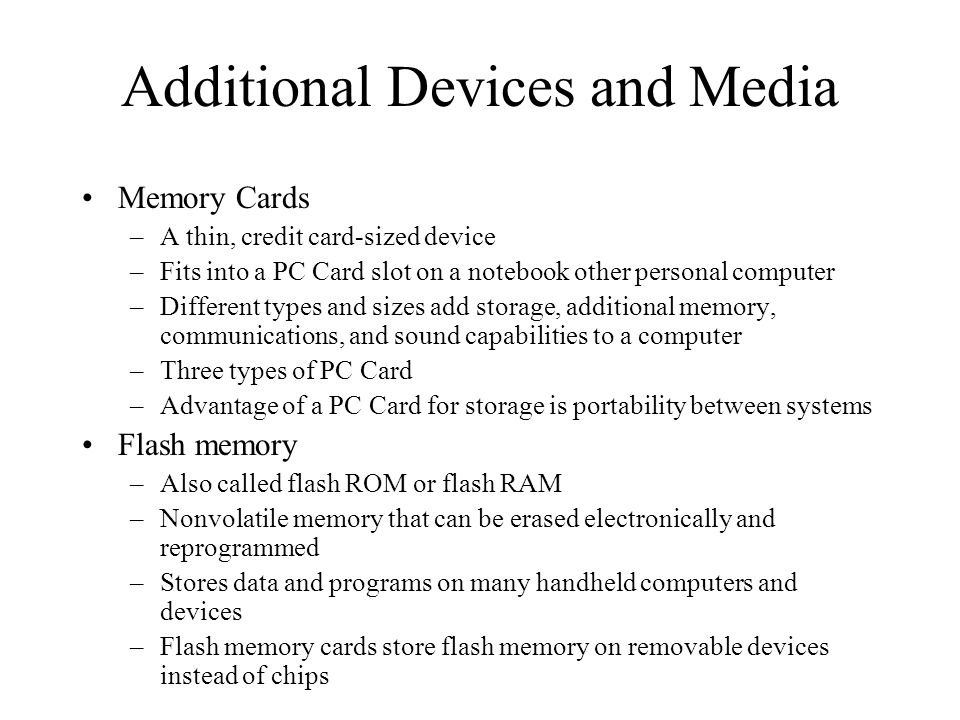 Additional Devices and Media