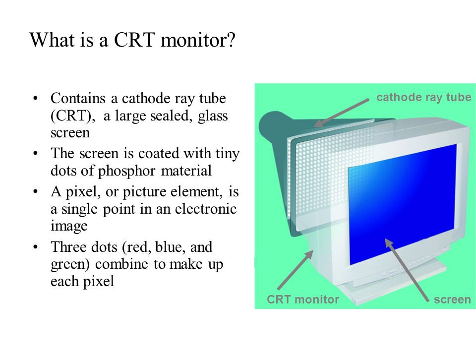 What is a CRT monitor Contains a cathode ray tube (CRT), a large sealed, glass screen. The screen is coated with tiny dots of phosphor material.