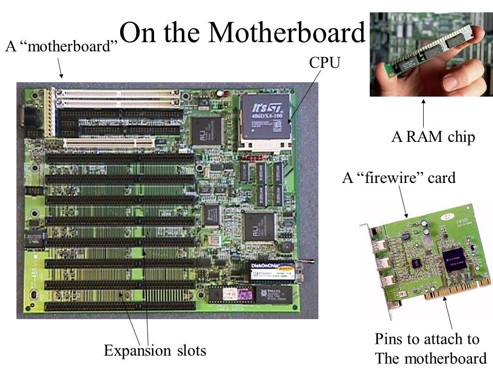 On the Motherboard A motherboard CPU A RAM chip A firewire card