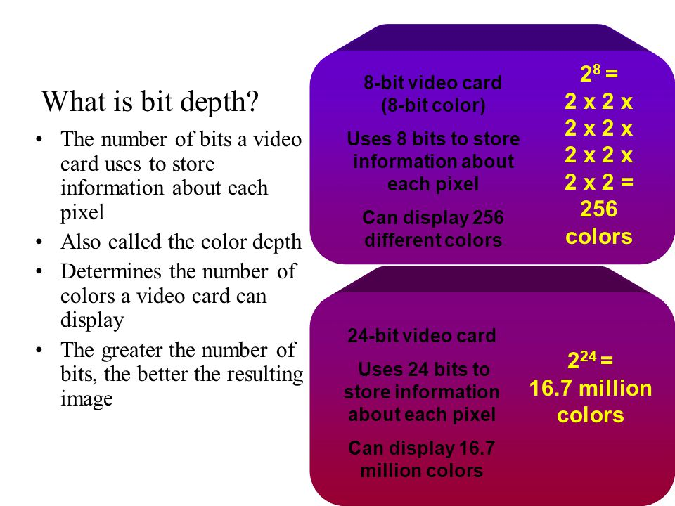 What is bit depth 28 = 2 x 2 x 2 x 2 x 2 x 2 x 2 x 2 = 256 colors