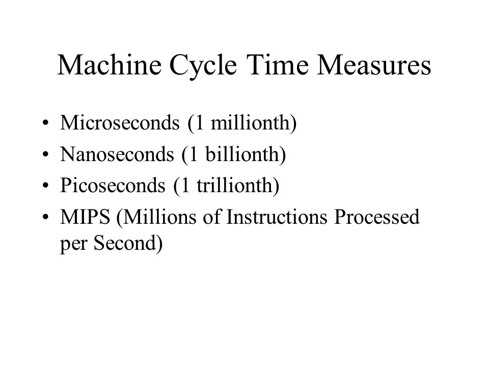 Machine Cycle Time Measures