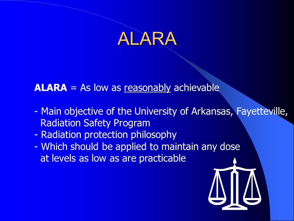 ALARA ALARA = As low as reasonably achievable