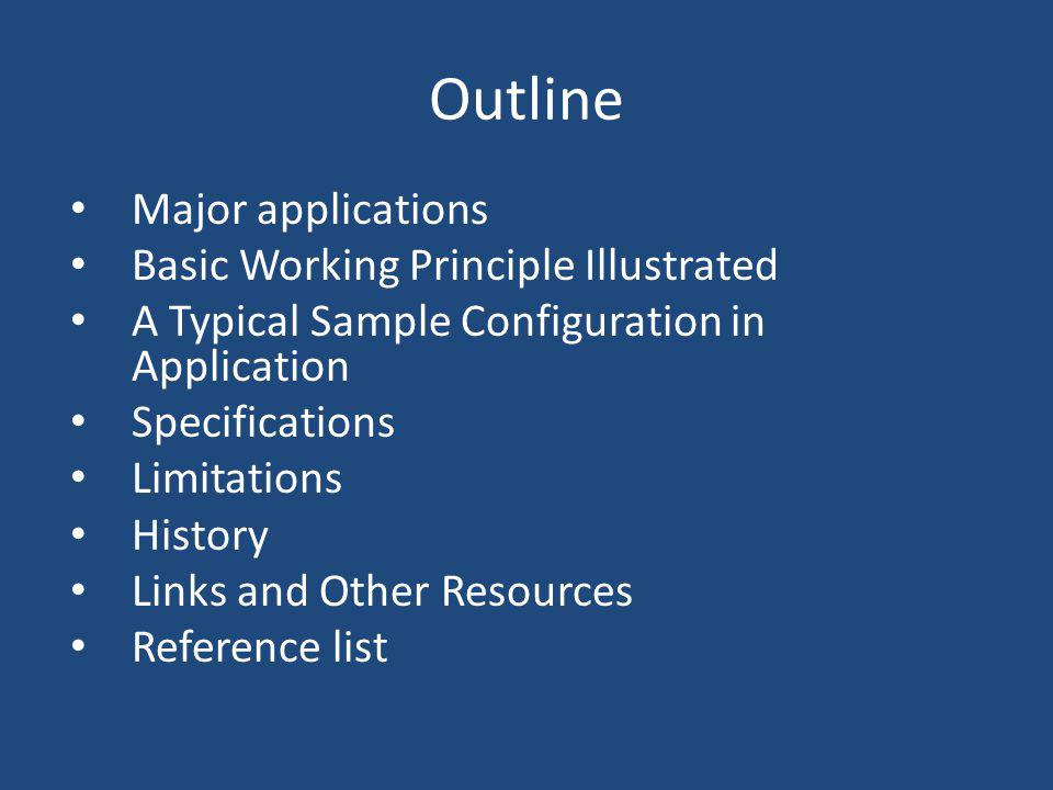 Outline Major applications Basic Working Principle Illustrated