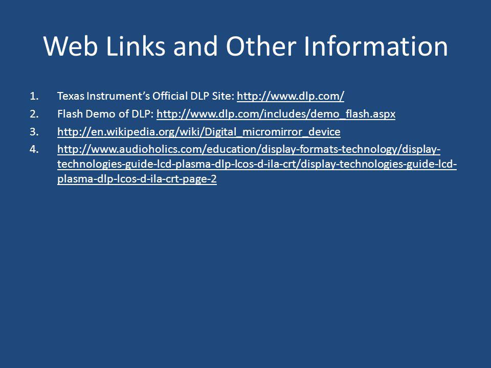 Web Links and Other Information