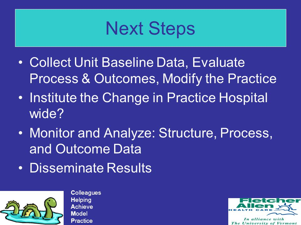 Next Steps Collect Unit Baseline Data, Evaluate Process & Outcomes, Modify the Practice. Institute the Change in Practice Hospital wide