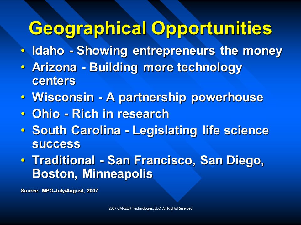 Geographical Opportunities