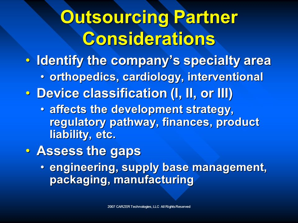 Outsourcing Partner Considerations