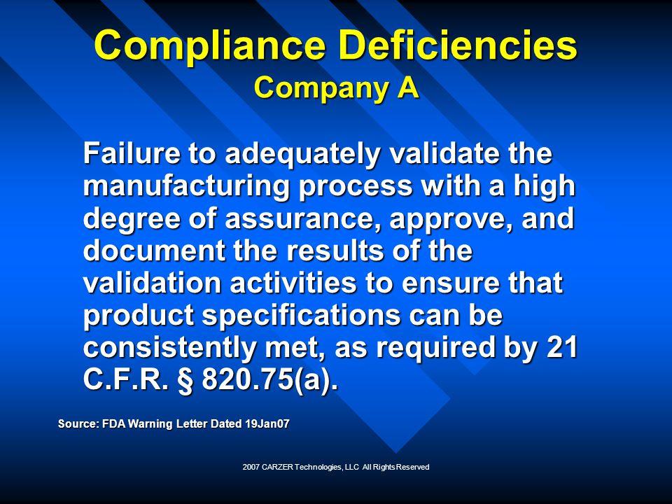Compliance Deficiencies Company A