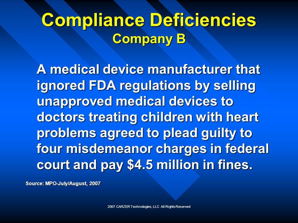 Compliance Deficiencies Company B