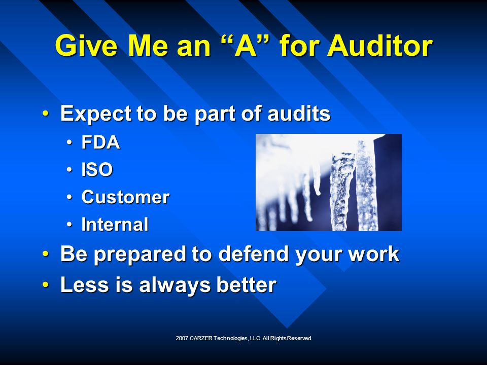 Give Me an A for Auditor