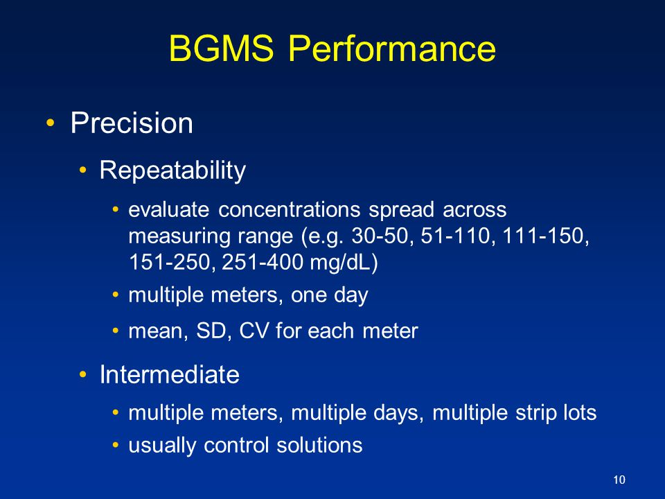 BGMS Performance Precision Repeatability Intermediate