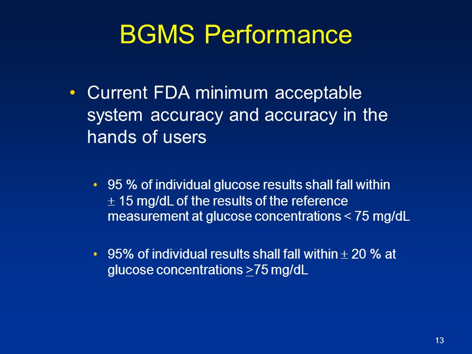 BGMS Performance Current FDA minimum acceptable system accuracy and accuracy in the hands of users.