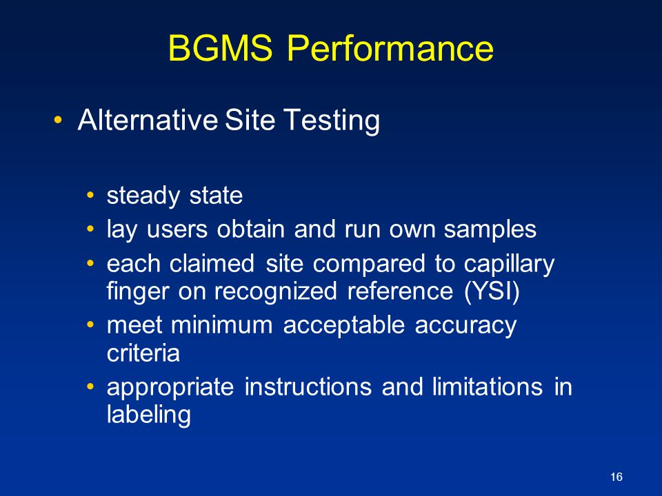 BGMS Performance Alternative Site Testing steady state