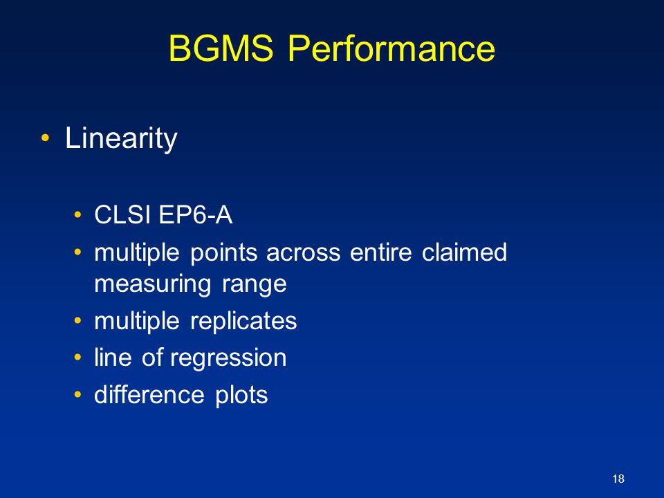 BGMS Performance Linearity CLSI EP6-A