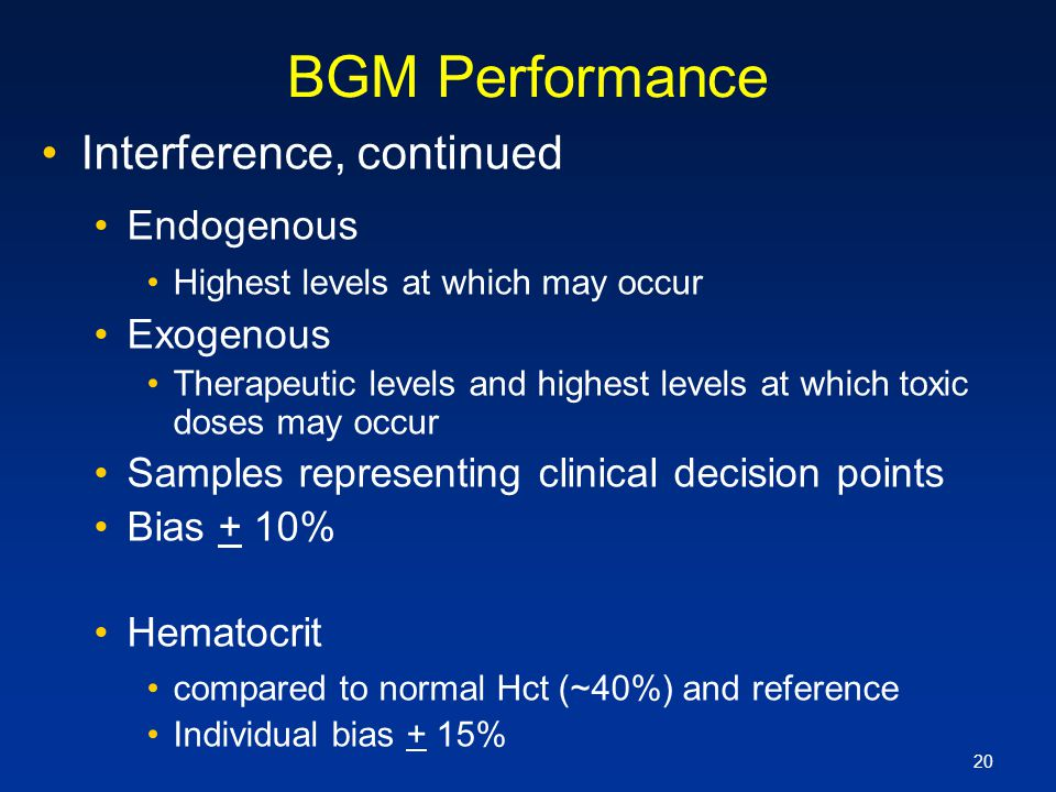 BGM Performance Interference, continued Endogenous Exogenous