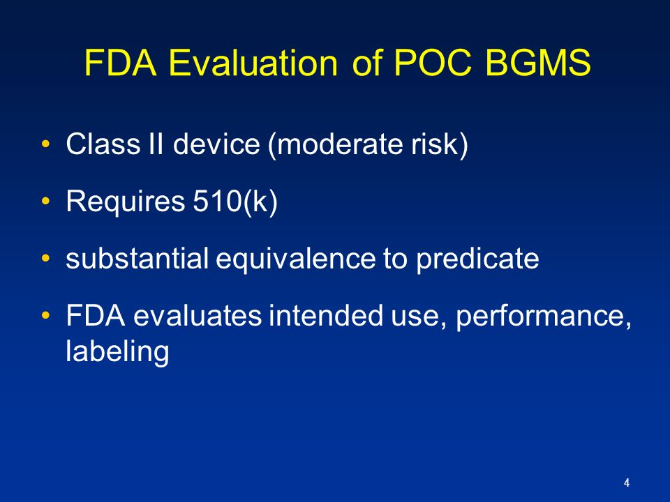FDA Evaluation of POC BGMS