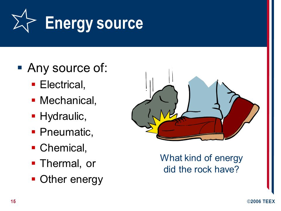 Energy source Any source of: Electrical, Mechanical, Hydraulic,