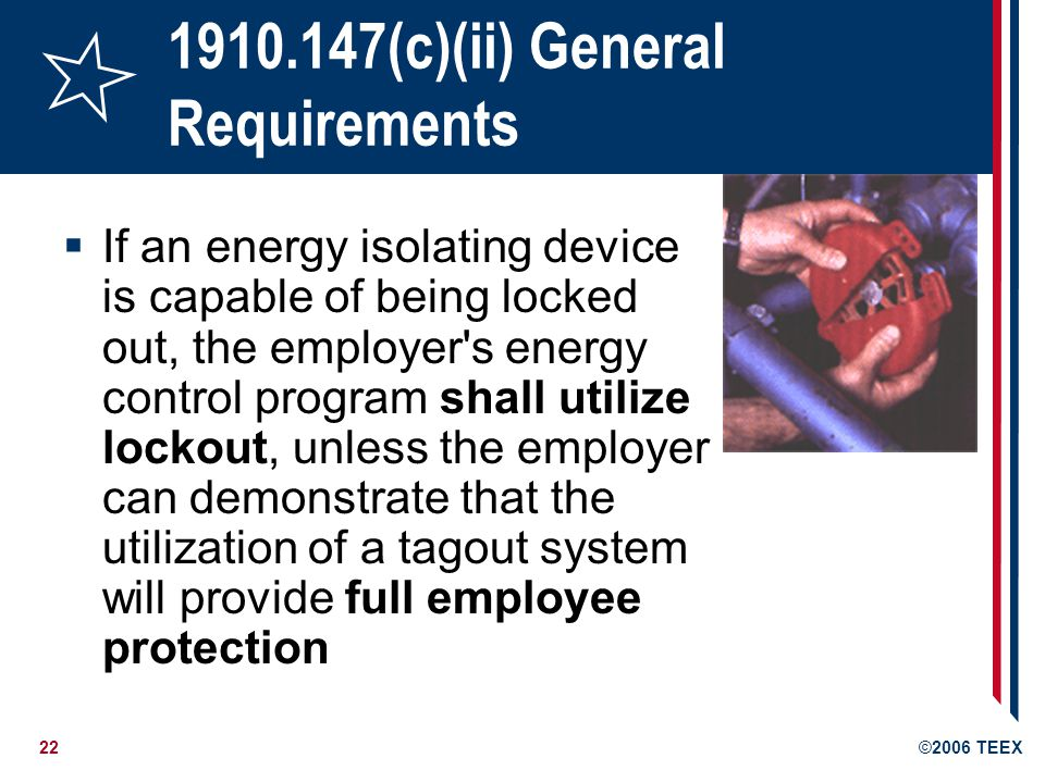 1910.147(c)(ii) General Requirements
