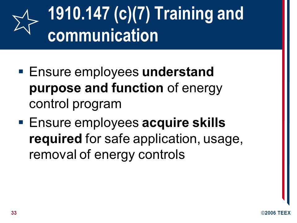 1910.147 (c)(7) Training and communication