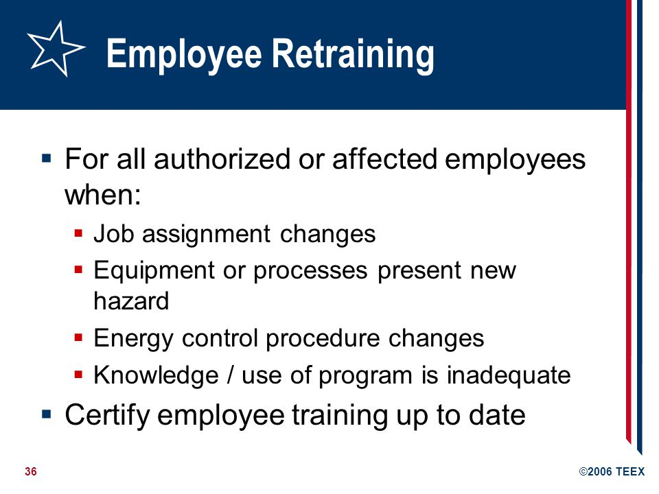 Employee Retraining For all authorized or affected employees when: