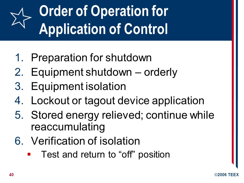 Order of Operation for Application of Control