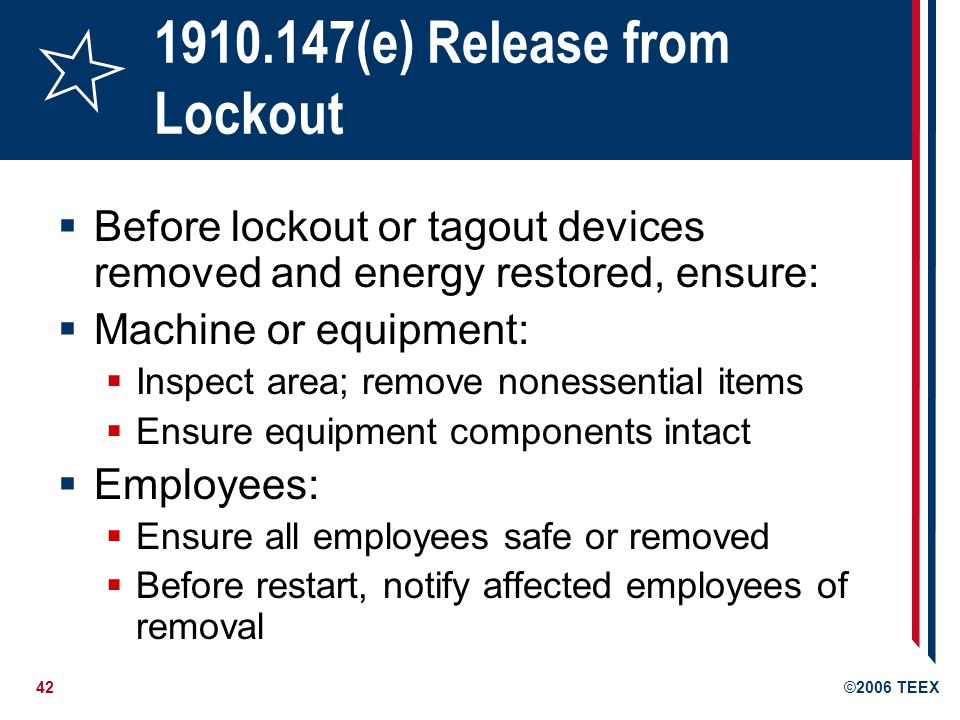 1910.147(e) Release from Lockout