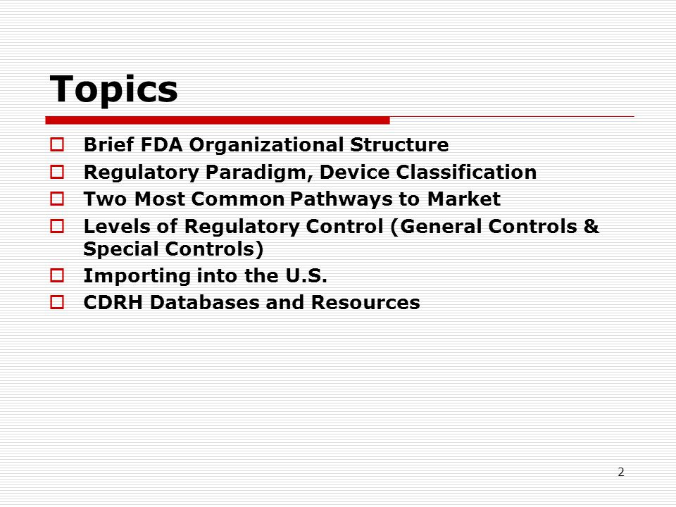 Topics Brief FDA Organizational Structure