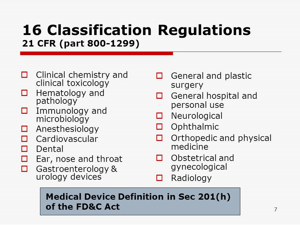 16 Classification Regulations 21 CFR (part 800-1299)