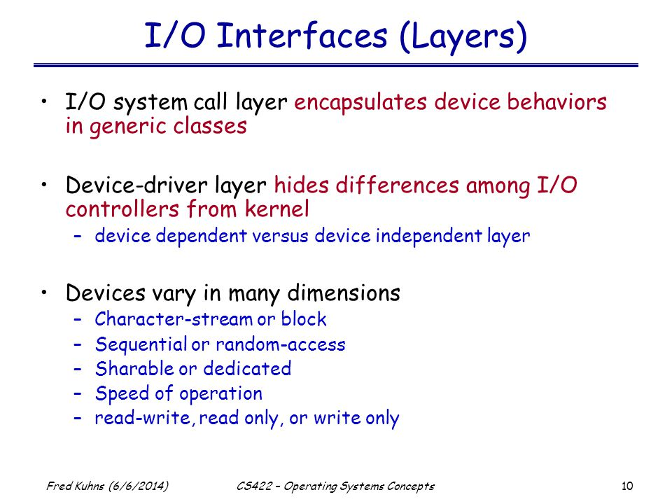 I/O Interfaces (Layers)