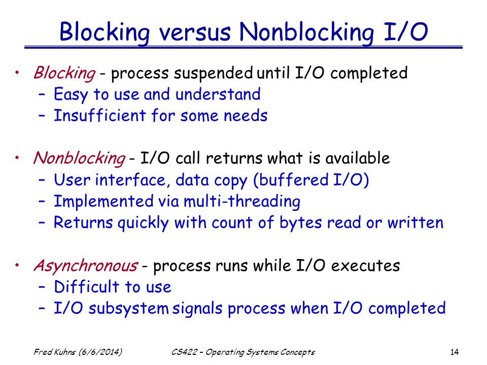 Blocking versus Nonblocking I/O