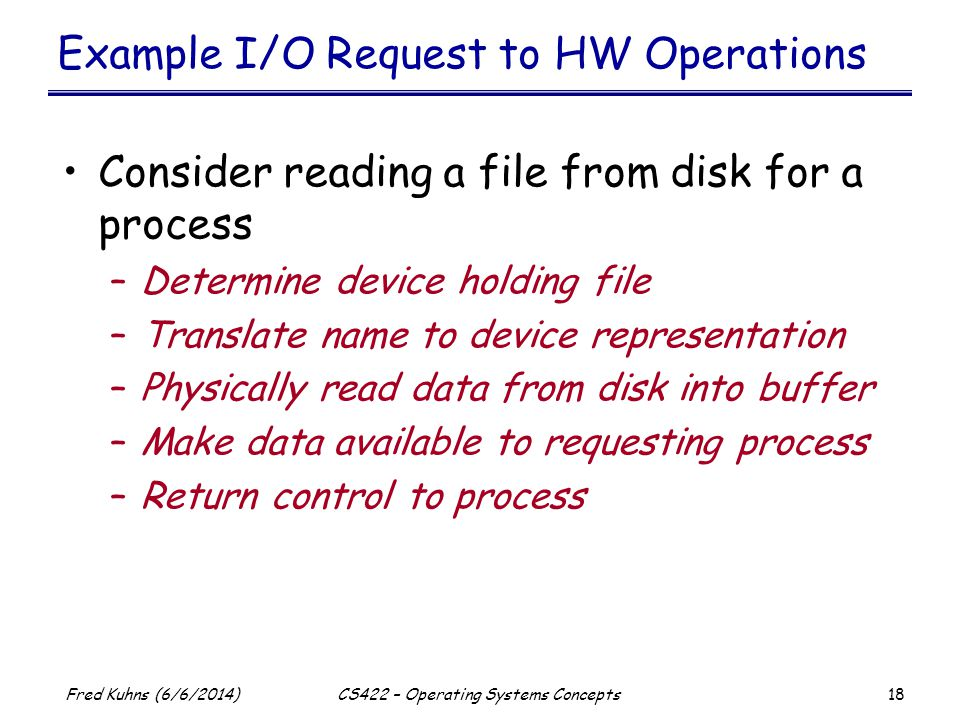 Example I/O Request to HW Operations