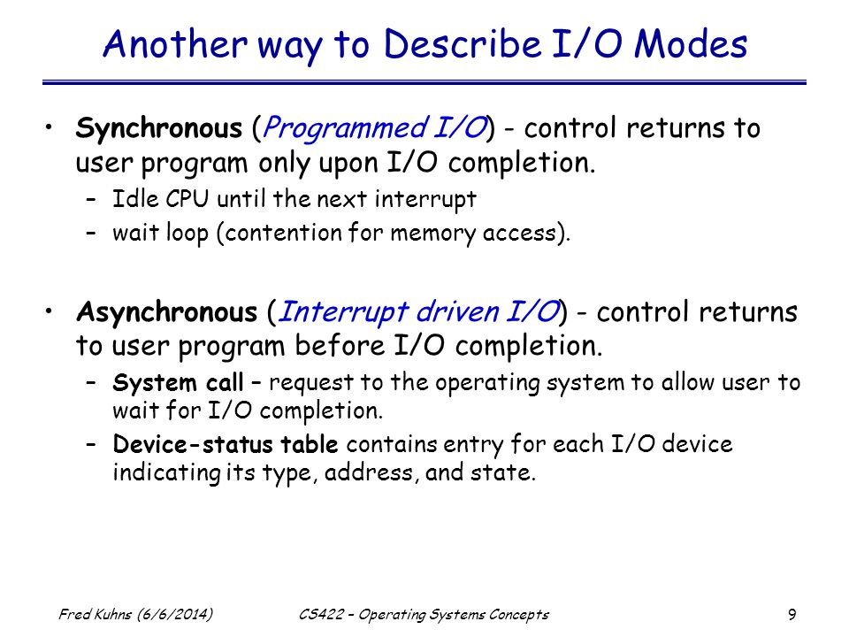 Another way to Describe I/O Modes
