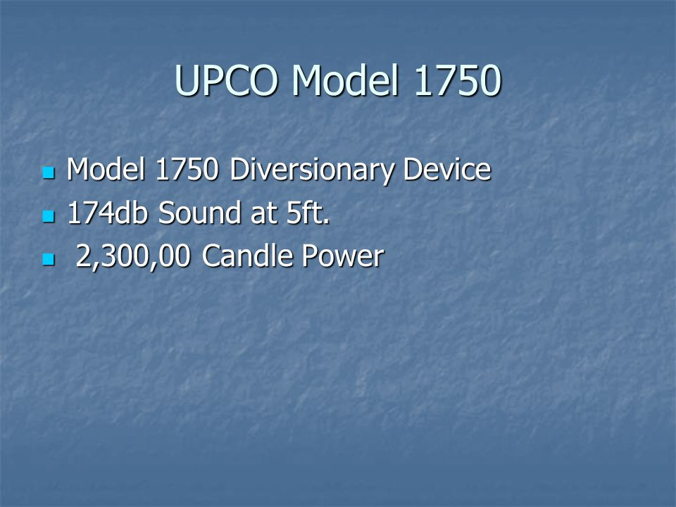 UPCO Model 1750 Model 1750 Diversionary Device 174db Sound at 5ft.