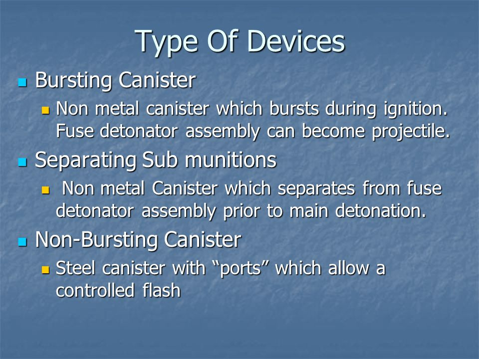 Type Of Devices Bursting Canister Separating Sub munitions