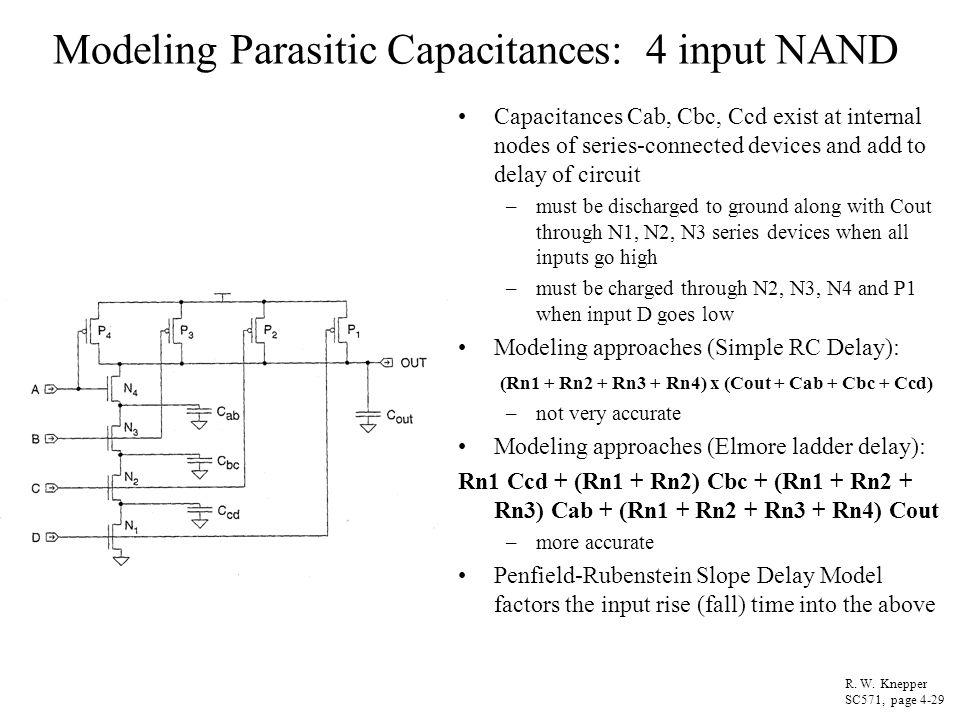 Modeling Parasitic Capacitances: 4 input NAND