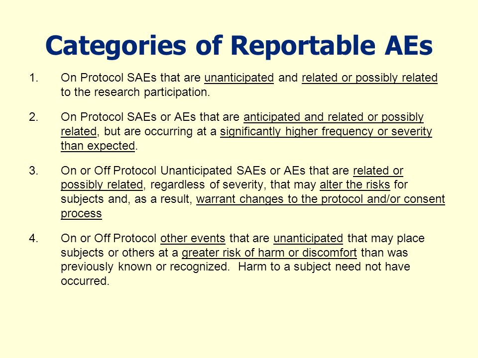 Categories of Reportable AEs