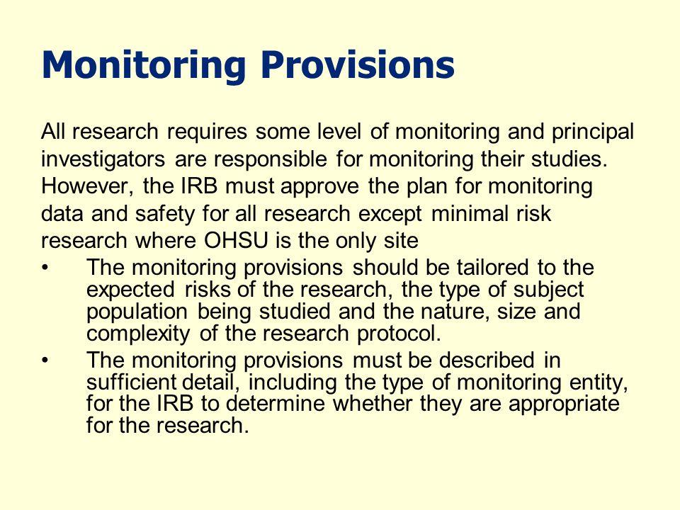 Monitoring Provisions