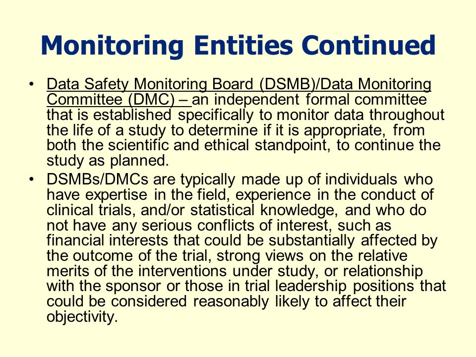 Monitoring Entities Continued