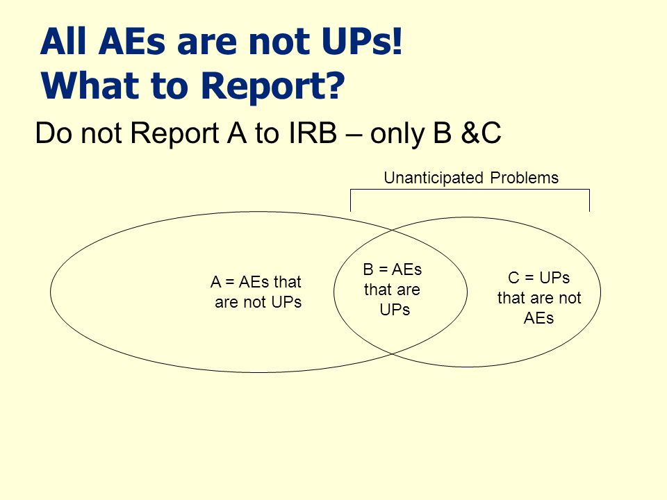 All AEs are not UPs! What to Report