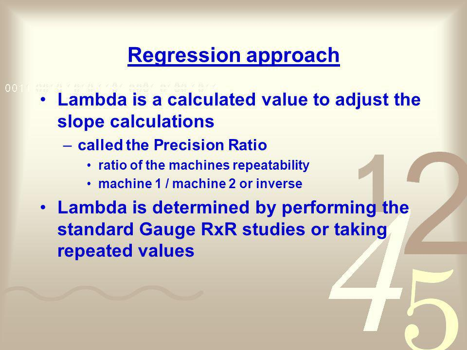 Regression approach Lambda is a calculated value to adjust the slope calculations. called the Precision Ratio.