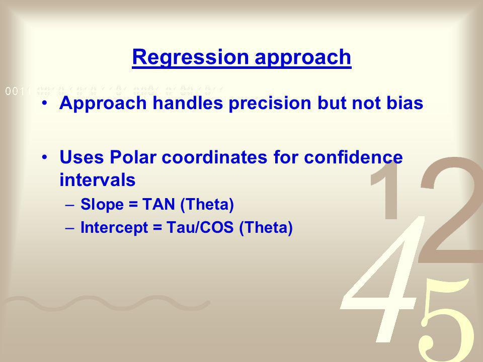 Regression approach Approach handles precision but not bias