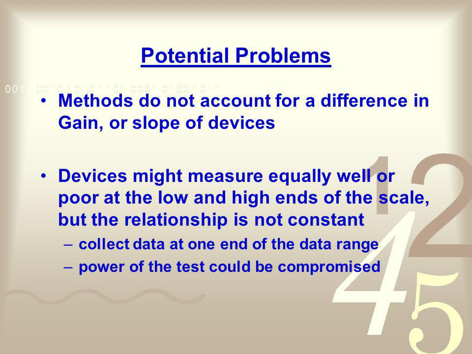 Potential Problems Methods do not account for a difference in Gain, or slope of devices.