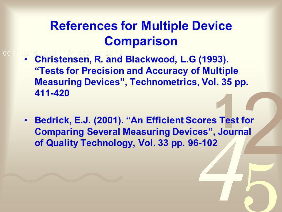 References for Multiple Device Comparison