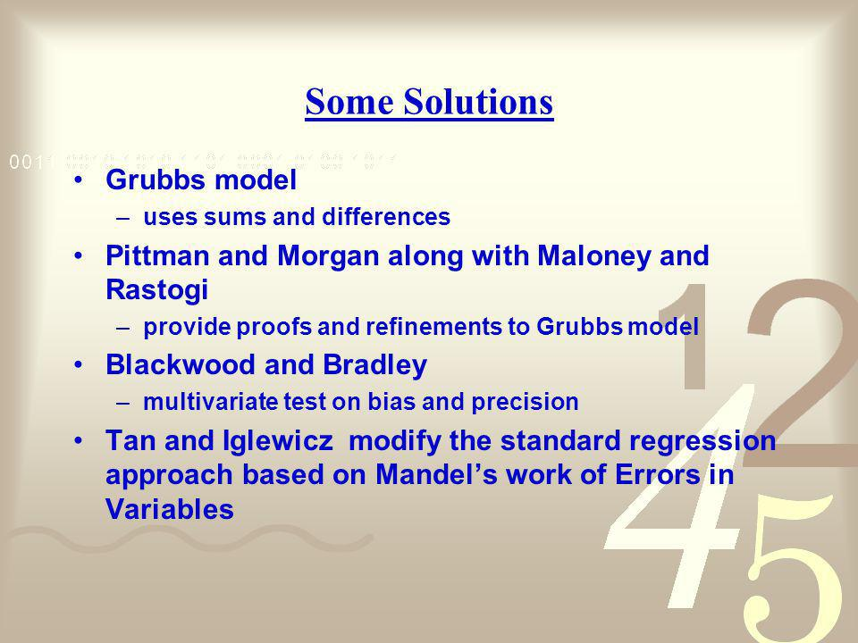 Some Solutions Grubbs model