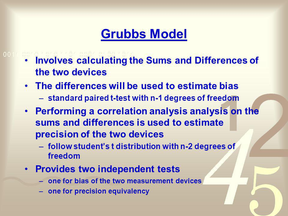Grubbs Model Involves calculating the Sums and Differences of the two devices. The differences will be used to estimate bias.