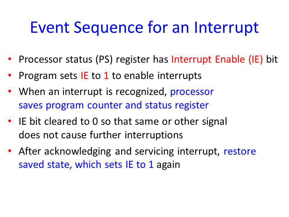Event Sequence for an Interrupt
