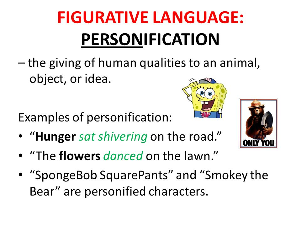 Personification Samples Figurative Language Literary Devices Ppt