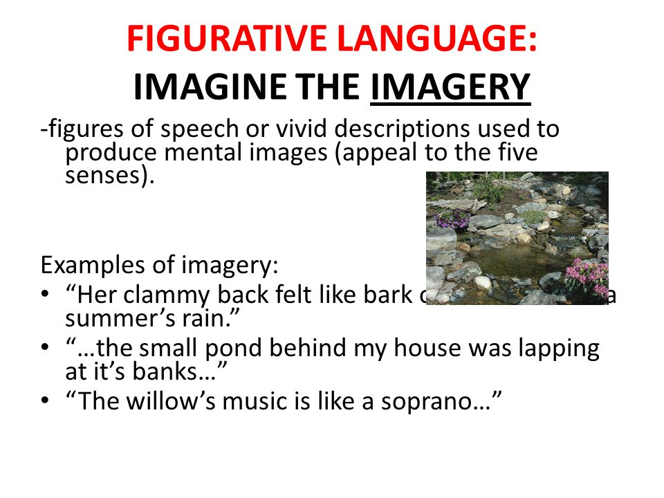 FIGURATIVE LANGUAGE: IMAGINE THE IMAGERY