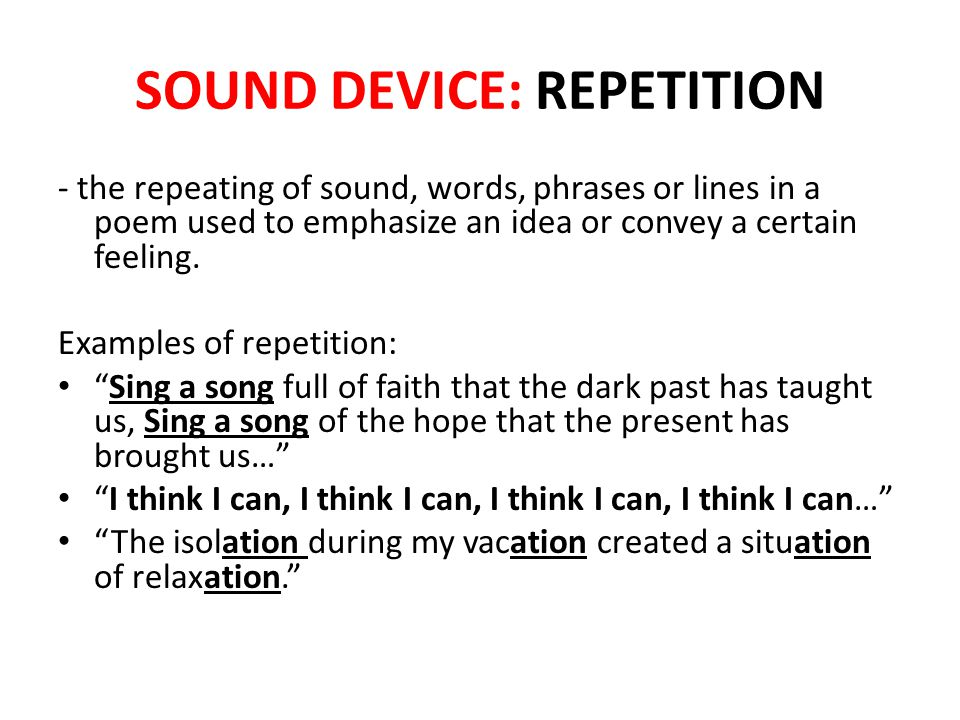 SOUND DEVICE: REPETITION